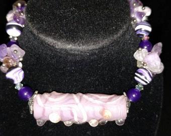 Amethyst and Purple Lampwork Bracelet, Size 8