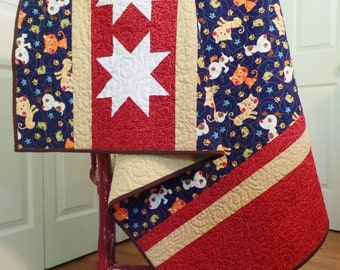 Modern Baby Quilt, Animal Quilt, Kitten and Puppy Quilt, Baby Girl or Boy Quilt, Star Quilt, Blue and Red Baby Quilt, Baby Shower Gift