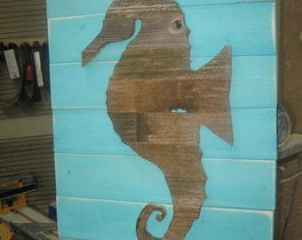 Seahorse Wall Art Wooden Seahorse Driftwood Art Seahorse Decor Beach Decor Coastal Decor Coastal Art Handmade Seahorse