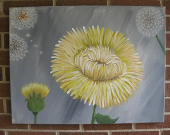 Dandelion Painting Yellow and Gray Painting Dandelion Decor Dandelion Art