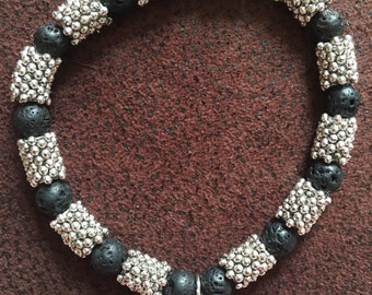 Volcanic lava with spacer bead bracelet