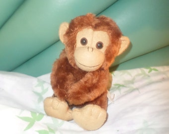 """Russ Monkey plush little 6"""" 1980's  NWOTS Brown buddy face small vintage"""