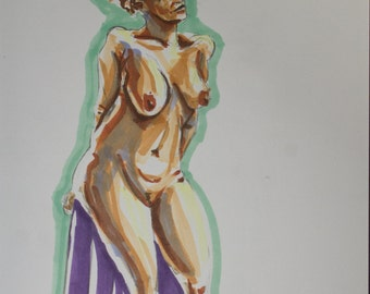 Figure Drawing, Woman Leaning on Stool
