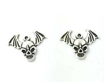 10 Pcs Bat Skull Halloween Charms | Halloween | Scary | 288-Hal