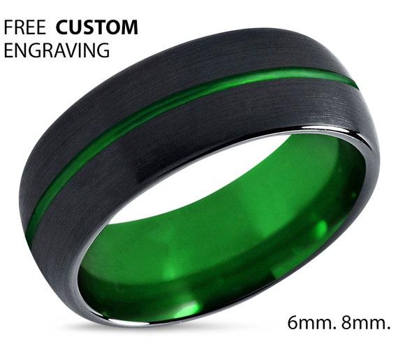 tungsten ring mens black green wedding band by bellyssajewelry