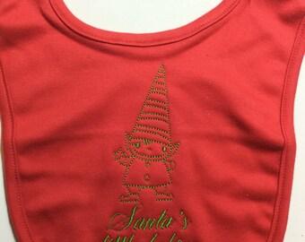 Santa's Little Helper Organic Cotton Red Embroidered Baby Bib