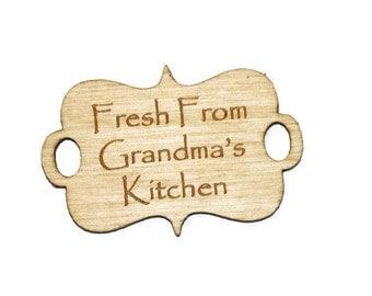 Set of 5 Grandmas Kitchen, Grandma fresh baked goods, baked cookies tags, holiday baking tags, homemade bread tags wood gift tags belly band