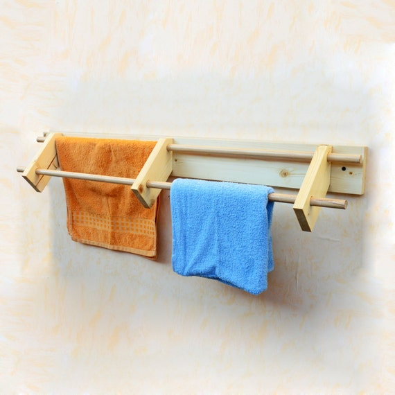 Wooden towel rail wall mounted towel rack bathroom towels