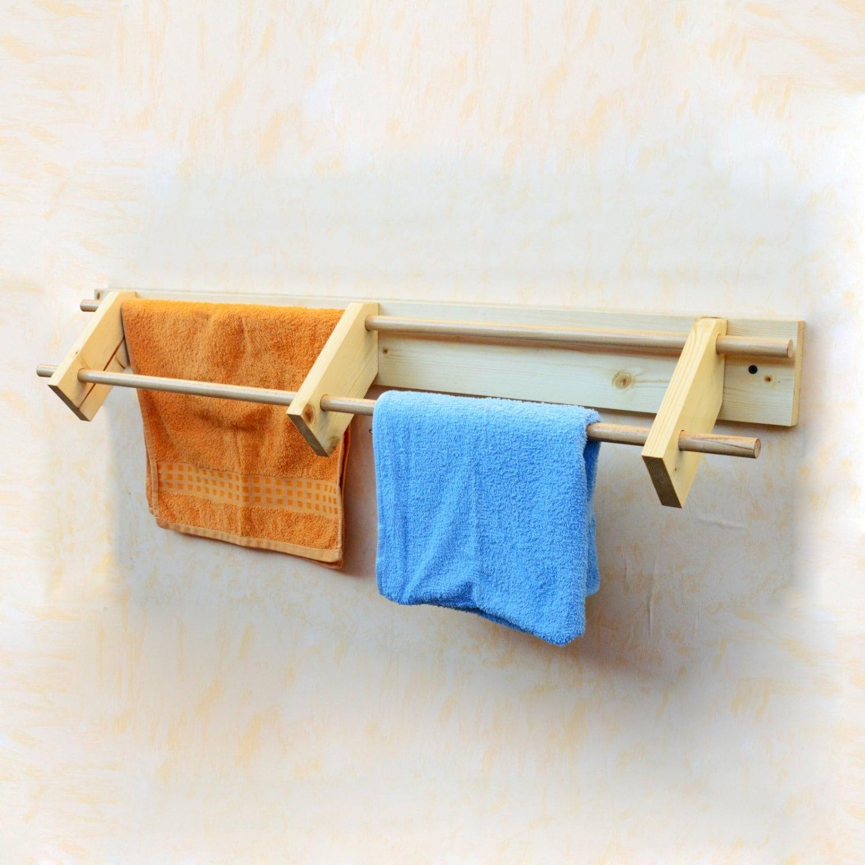 Wooden Towel Rail Wall Mounted Towel Rack Bathroom Towels