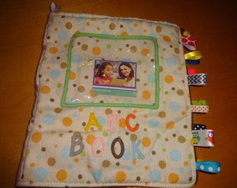 FABRIC ALPHABET LEARNING Toy Book With Velcro Letters! Customize It! Choose Your Fabric!
