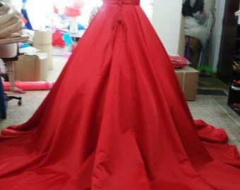 Red Bridal Satin Ball Gown with Corset Back