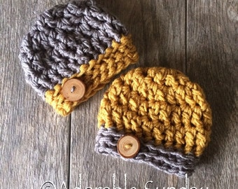 Twin Set Baby Hats, Mustard Yellow and Grey with Wooden Button Newborn Preemie Infant Boys Photo Props Crochet Knit Unique RTS Ready to Ship