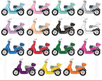 Scooter clipart, scooter Clip Art, Colorful Scooters, Scooter with top box, Vespa Clipart, Electric Scooters Clip Art, Motorcycle Clipart