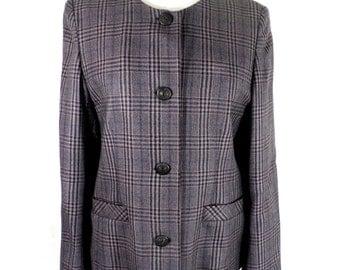 Purple Equorian Heritage English Wool Plaid Jacket  Size M
