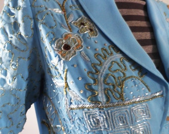 Vintage Embroidered Sky Blue Crepe Jacket  Size M