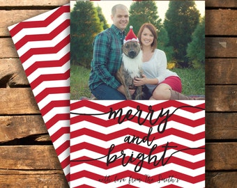 Merry and Bright Chevron Christmas Photo Card - Digital File - 5x7""
