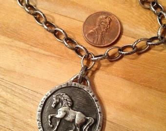 Divine EQUINE Rustic HORSE PENDANT necklace