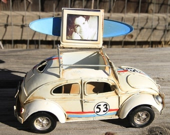 Volkswagen Herbie loaded with surfboard