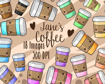 Kawaii Coffee Clipart - Cafe Download - Instant Download - Cute Coffee Cups Set