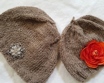 Orange Flower Power Baby Hat