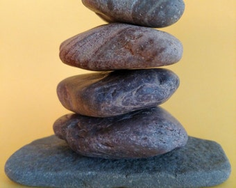 Maine Beach Stone Cairn (c58) Layered Color Rock - Set of 6 Stacked Unique Loose Undrilled Smooth Art Decor Zen Meditation Desk Dorm Room