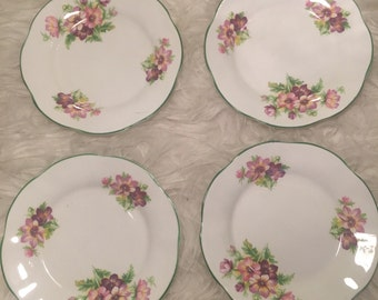 Floral & Green Set of Four Plates