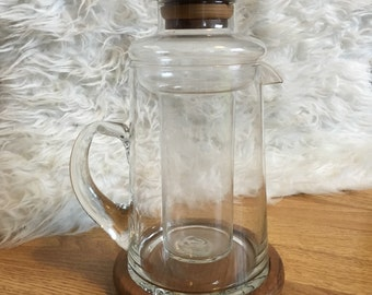 Glass Teapot Jug with Wooden Base + Lid