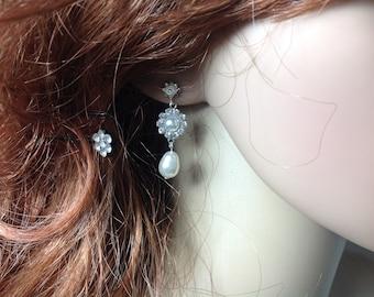 Bridal Pearl Earrings, Wedding Earrings, Crystal Pearl Earrings, Sterling Silver Earrings, Swarovski Pearl Earrings, Bridal Drop Earrings