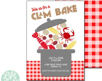 Clam Bake Invitation, Low Country Boil Invitation, Lobster Party Invitation, Crab Invitation - 5x7 with reverse side