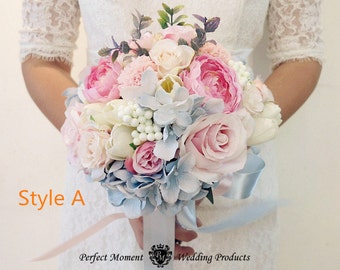 Wedding Bouquet Bridal Bridesmaid Aartificial Flower Roses Posy Handmade Decor multi color
