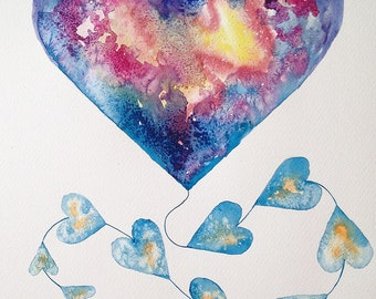 Kite Blue Heart Watercolour Painting Perfect Gift for Valentine's Day Watercolour Art