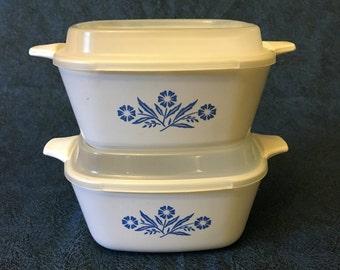 Vintage Blue Cornflower Corning Ware 2 3/4 Cup Casserole with Storage Lid, Set of 2
