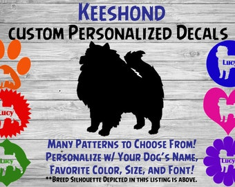 Keeshond Dog Personalized Silhouette Vinyl Decal - Dog Breed Decal-Car Window Decal-Pet Gift-Custom Pet Sticker - Dog Name Sticker