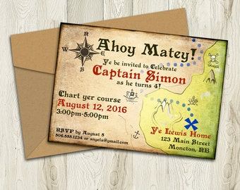 Printable Pirate Invitation, Treasure Map Birthday Invite, Pirate Party