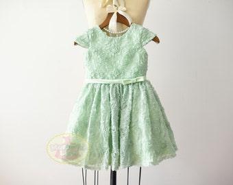 Cap Sleeves Mint Rosette Flower Girl Dress Junior Bridesmaid Wedding Party Dress  F0090