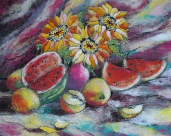 Felt Picture. Colorful Still Life