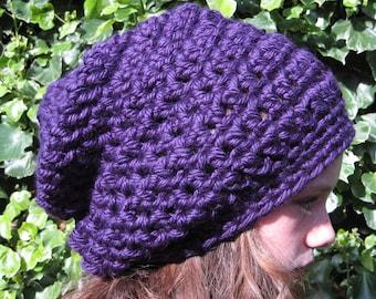 Crochet Hat, Slouchy Hat, Purple Hand Crocheted Hat, Teenagers Winter Hat, Purple Hat, Skater Hat, Woolly Hat