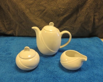 Modern Contemporary White Tea/Coffee Pot, Creamer and Suger Set
