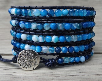 wrap bracelet Blue agate bead bracelet Gemstone wrap bracelet Leather wrap bracelet boho bracelet yoga bracelet natural stone jewelry SL0179