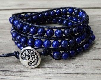 blue Lapis lazuli beads bracelet navy wrap bracelet blue gemstone bracelet gypsy bracelet yoga wrap bracelet Lapis lazuli bracelet SL-0198