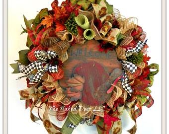 Fall Welcome Wreath - Welcome Wreath - Fall Decor - Welcome Turkey Mesh Wreath - Thanksgiving Wreath - Fall Wreath - Autumn Welcome - Turkey