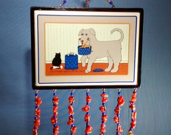 nursery child's room whimsical dog cat kittly framed ceramic tile decorative wall hanging, cute dog kitty ceramic tile framed beaded hanging
