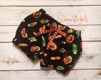 Pumpkin halloween bloomers - Fall bloomers - Orange and Black - candy corn - diaper cover