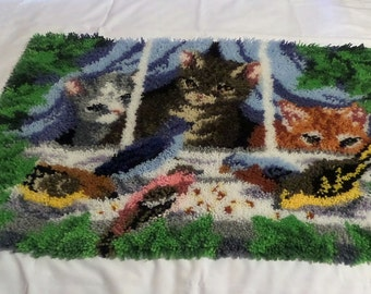 Cats and Birds Completed Latch Hook Rug