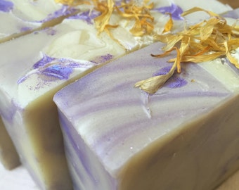 Herbal Infused Soap, Forest Flowers, Vegan Soap with Calendula, Comfrey, Plantain, Yarrow