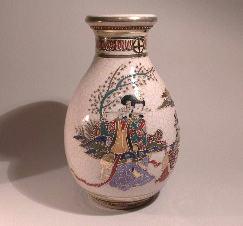 Vintage Japanese Satsuma Vase Quality Hand Painted