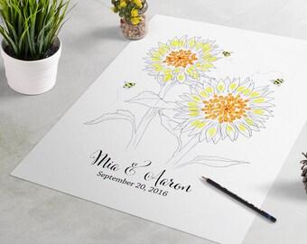 Sunflower Wedding Guest Book: Flower fingerprint guest book for wedding similar to fingerprint tree. thumbprint tree, guest book alternative