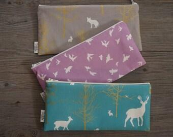 zipper pouch, pencil case, makeup bag, cosmetics bag, back to school supplies, Brambleberry Ridge fabric