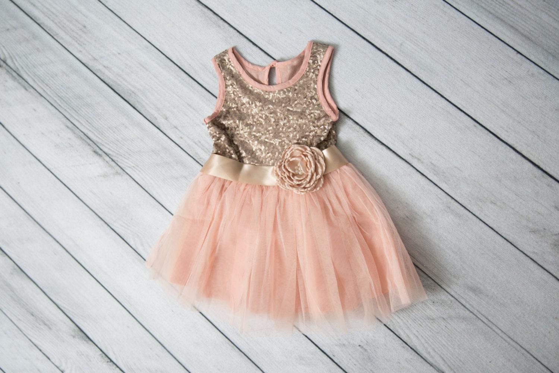 Pale Pink Flower Girl Dress Rose Tulle Wedding Dress