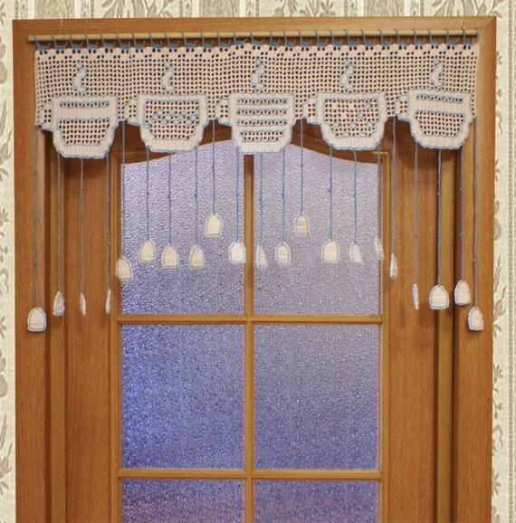 White Kitchen Crocheted Door Curtain With Tea Cups Filet